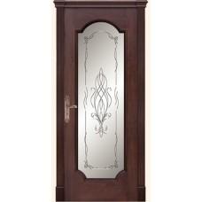Двери Дариано Женева-F гравировка Азалия красное дерево